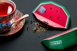 Tea packaging that reminds us of a juicy piece of watermelon. Photo: Designed by T2 Tea in house design - Christopher Stanko @ Metsa Board