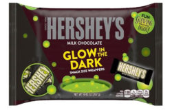 No – the Hershey chocolate bar will not turn bilious green for Halloween – just the logo on the packaging – when it's dark. Photo: Hershey's