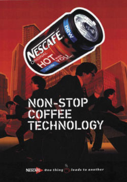In 2001 Nestlé developed a self-heating canned cup of coffee. However, after a test run the product never actually reached the market.  Photo: Nescafé Original Hot When You Want. © lukewhite.prosite.c