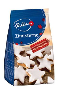 "Before the actual pre-Christmas period, Germany's popular Christmas classics are clothed in autumn themes and sold officially as ""autumn confectionery"". Photo: Bahlsen cinnamon stars, 100g. © Bahlsen"