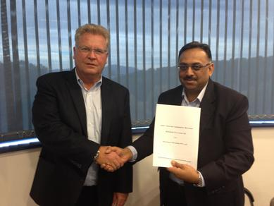 Mr. Klaus Krämer, President of Bossar Packaging, and Mr. Ashish B. Meghani, Managing Director of Wraptech Machines after signing the joint venture agreement.