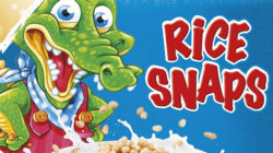Rice Snaps packaging showing a crocodile and cereal bowl