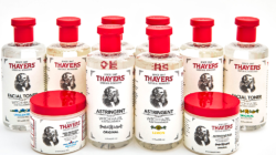 Thayers' cosmetics bottles with red caps.