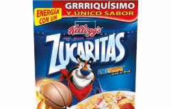 'Tony the Tiger' does not bear a black loop with a warning note on sugar content above its head yet. Only the ingredients are listed on this packaging. Photo: Kellogg's ® Zucaritas ®