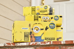 Who would not be cheered up by this? Yellow Minions parcels by Amazon. Photo: Amazon