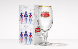 One glass for five years of clean water. Beer brand Stella Artois offers its customers three different packaging designs for the special fundraising campaign. Photo: Stella Artois/Annheuser-Busch
