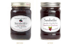 For Sarabeth's Jam, Fili changed the colour of the lid, slightly modified the lettering and enhanced the label by adding a picture of the fruit and a frame around the edge. Photo: Louise Fili