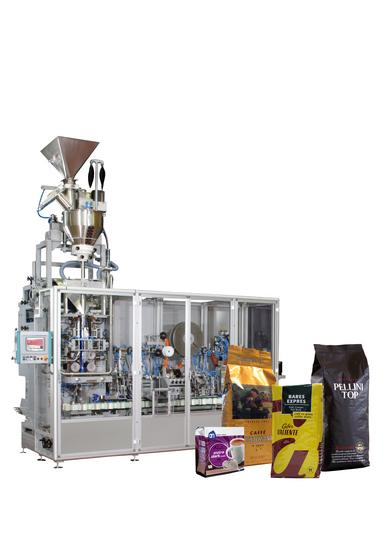 G14 packaging line for ground coffee, whole bean coffee, pods and capsules packaging