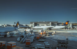 Frankfurt Airport with planes and logistics