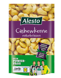 The packaging of Alesto cashew nuts, a Lidl private label, was reduced by just under 20 %. Photo: Lidl Deutschland