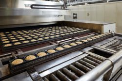 During the baking processes, the bakers constantly check the temperature in the ovens.