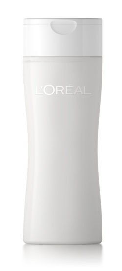 White cosmetics bottle from L'Oréal.