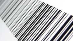 Barcodes represent data in binary symbols.  Photo: Example of a 2D code 128 barcode. @ Christiaan Colen /flickr.com