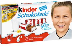 """Kinderschokolade"" bars during the European Cup in 2016 featured childhood photos of players in the German national squad. Photo: Ferrero"