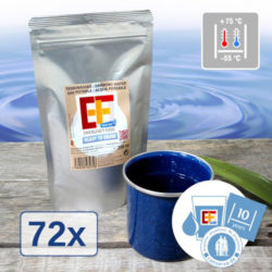 Emergency Food drinking water packaged in aluminium stand-up pouches can be kept for over 10 years. Photo: Convar Europe Ltd
