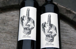 The raised middle finger subtitled 'Fuck off Intolerance' on the label of Fred Strieth's Rheingau wine is a statement against intolerance and racism. Photo: Weingut Strieth.