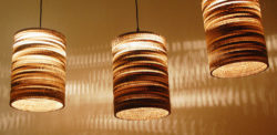 Designer luminaires made of corrugated cardboard. Photo: Nordwerk Design