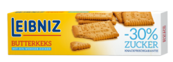 Leibniz Butter Biscuit packaging with sugar-reduced biscuits.