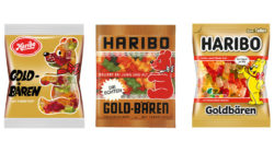 Three different versions of Haribo gold-bear packaging