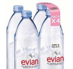 Evian has officially been bottled since 1826. These are four bottles in each Nature MultiPack.  © KHS