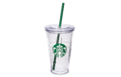 Original coffeehouse flair for your home: Starbucks fans can prepare their shake themselves back home in this shaker made of rigid plastics and still feel like sitting in their favourite café. Photo: