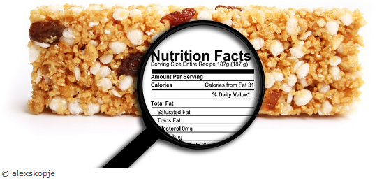 Cereal bar and nutritional values