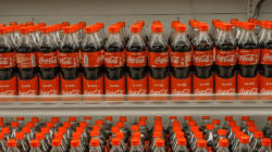 Many Coca-Cola bottles in shelf